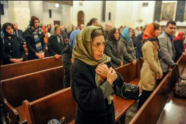 Iranian woman worshipping at church – Expressing he right to religious freedom – Image copyright The Media Express 2016