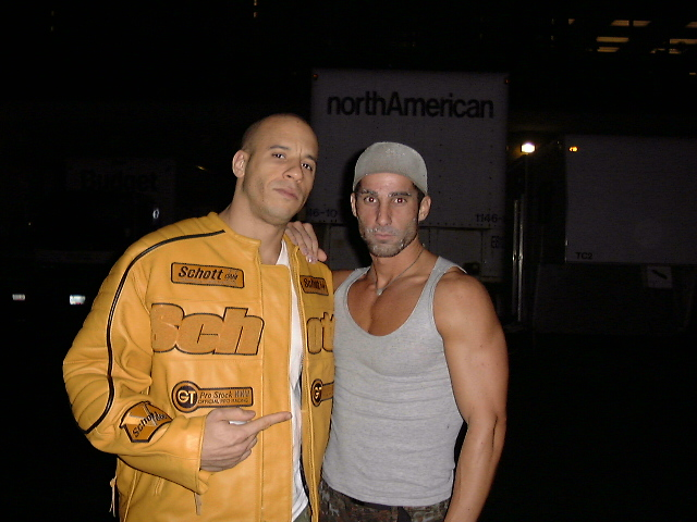 "Vin Diesel (left) and Nigel Vonas (right) on set of ""The Chronicles of Riddick"""