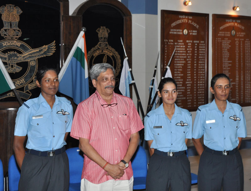 The Union Minister for Defence, Mr. Manohar Parrikar with three newly commissioned women fighter pilots Flying Officer Avani Chaturvedi, Flying Officer Bhavana Kanth, Flying Officer Mohana Singh, at Air Force Academy, Hyderabad on June 18, 2016.