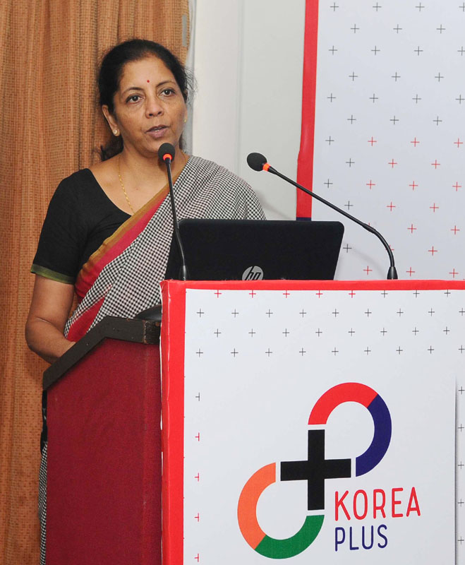 The Minister of State for Commerce & Industry (Independent Charge), Mrs. Nirmala Sitharaman addressing at the inauguration of the office of KOREA PLUS, in New Delhi on June 18, 2016.