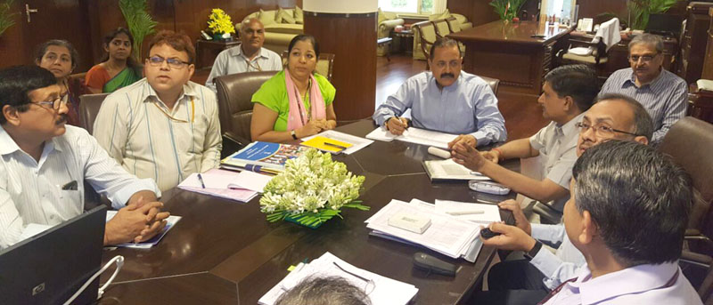 The Minister of State for Development of North Eastern Region (I/C), Prime Minister's Office, Personnel, Public Grievances & Pensions, Department of Atomic Energy, Department of Space, Dr. Jitendra Singh presiding over a meeting of the Department of Youth Affairs, in New Delhi on May 25, 2016.