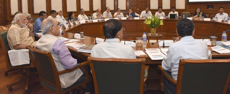 The Prime Minister, Mr. Narendra Modi chairing the review meeting on the progress in infrastructural development in Rail and Road sectors, in New Delhi on May 30, 2016.