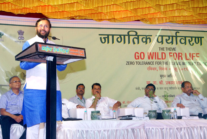 The Minister of State for Environment, Forest and Climate Change (Independent Charge), Mr. Prakash Javadekar addressing on the theme 'Go Wild For Life', at the 'World Environment Day' celebration, in Mumbai on June 05, 2016.