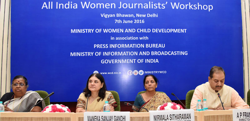 The Union Minister for Women and Child Development, Mrs. Maneka Sanjay Gandhi and the Minister of State for Commerce & Industry (Independent Charge), Mrs. Nirmala Sitharaman at the post-lunch session of the All India Women Journalists' workshop, jointly organised by the Ministry of Women and Child Development and Press Information Bureau, in New Delhi on June 07, 2016. The Secretary, Ministry of Women and Child Development, Ms. Leena Nair and the Director General (M&C), Press Information Bureau,Mr. A.P. Frank Noronha are also seen.