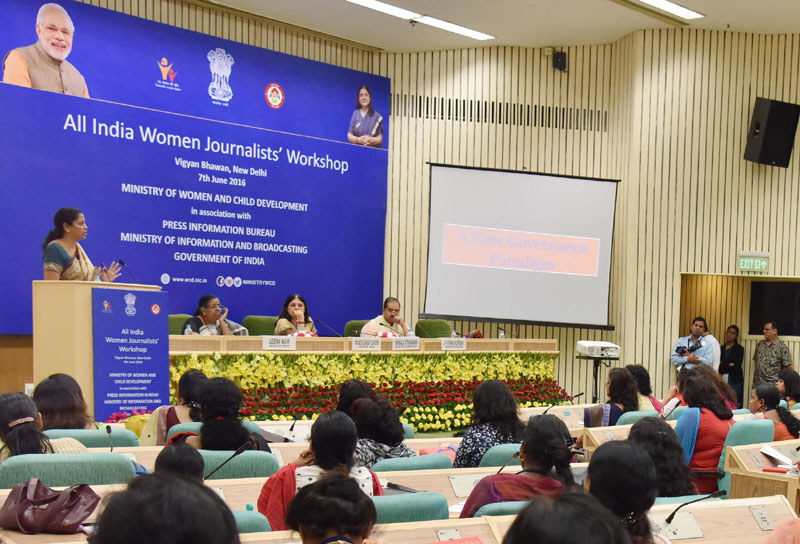 The Minister of State for Commerce & Industry (Independent Charge), Mr.. Nirmala Sitharaman addressing at the post-lunch session of the All India Women Journalists' workshop, jointly organised by the Ministry of Women and Child Development and Press Information Bureau, in New Delhi on June 07, 2016.The Union Minister for Women and Child Development, Mrs. Maneka Sanjay Gandhi, the Secretary, Ministry of Women and Child Development, Ms. Leena Nair and the Director General (M&C), Press Information Bureau, Mr. A.P. Frank Noronha are also seen.