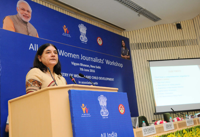 The Union Minister for Women and Child Development, Mrs. Maneka Sanjay Gandhi addressing at the inauguration of the All India Women Journalists' workshop, jointly organised by the Ministry of Women and Child Development and Press Information Bureau, in New Delhi on June 07, 2016.