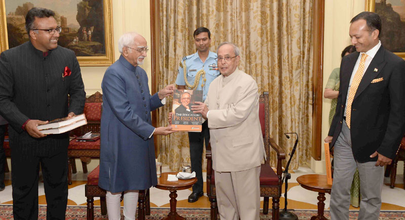 "The President, Mr. Pranab Mukherjee receiving the first copy of the book ""The Education President"" published by the International Institute for Higher Education Research of the OP Jindal Global University from the Vice President, Mr. M. Hamid Ansari, at Rashtrapati Bhavan, in New Delhi on June 08, 2016."