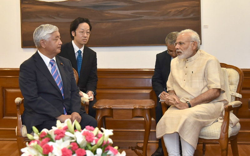 The Minister of Defence, Japan, Mr. Gen Nakatani calls on the Prime Minister, Mr. Narendra Modi, in New Delhi on July 14, 2016.