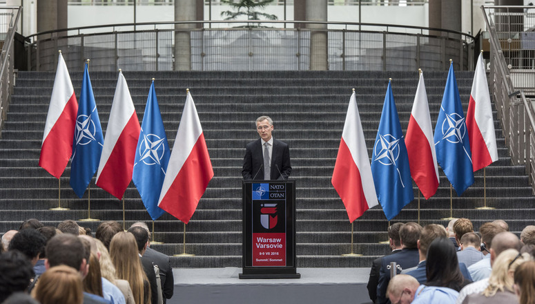 NATO Secretary General Jens Stoltenberg delivers a speech at Warsaw University
