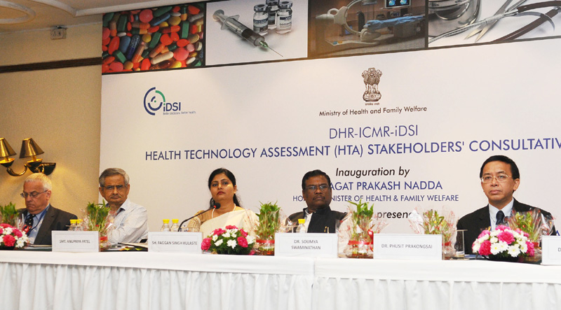 The Ministers of State for Health & Family Welfare, Mr. Faggan Singh Kulaste and Mrs. Anupriya Patel, the Secretary, Ministry of Health and Family Welfare, Mr. B.P. Sharma and other dignitaries at the inauguration of the DHR-ICMR- iDSI International Workshop on 'Health Technology Assessment-Awareness and Topic Selection', in New Delhi on July 25, 2016.