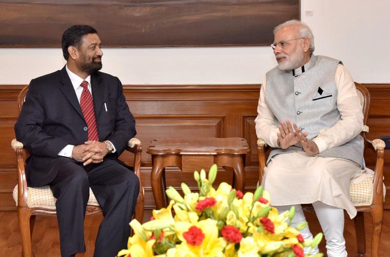 The Deputy Prime Minister of Nepal, Mr. Bimalendra Nidhi calls on the Prime Minister, Mr. Narendra Modi, in New Delhi on August 20, 2016.