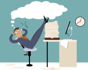 53373024 - procrastinating man sitting in the office with his legs up on a pile of papers, whistling and daydreaming