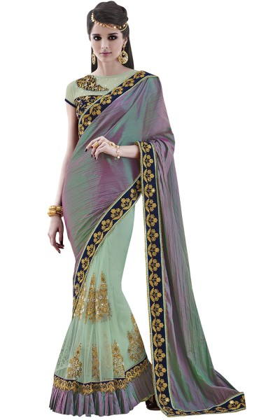 Gleaming Sea Green Color Party Wear Silk Designer Saree by Shaily Retails