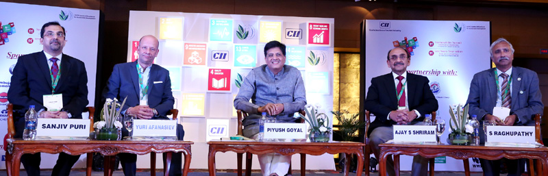 "The Minister of State for Power, Coal, New and Renewable Energy and Mines (Independent Charge), Mr. Piyush Goyal at the CII's 11th Sustainability Summit – ""Global Goals & Competitiveness"", in New Delhi on September 14, 2016."