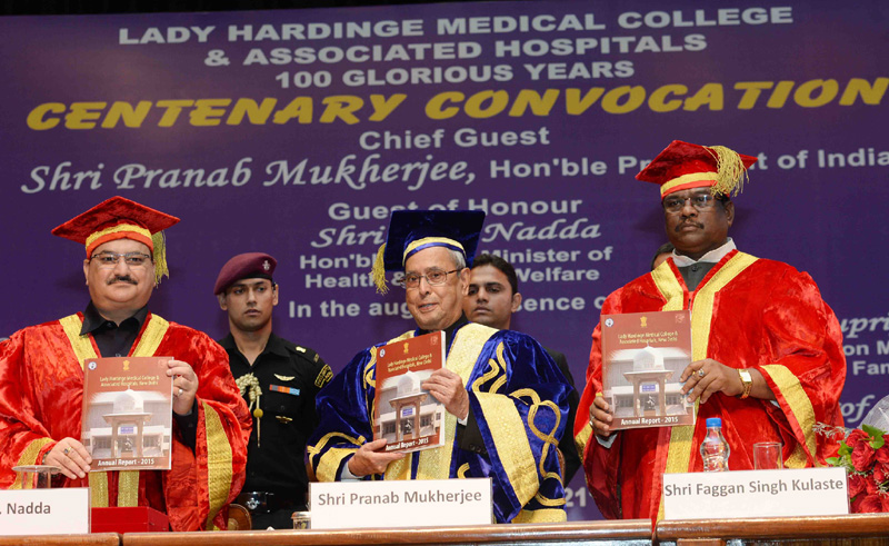 The President, Mr. Pranab Mukherjee releasing the Annual Report 2015, at the Centenary Convocation of Lady Harding Medical College, New Delhi on September 21, 2016. The Union Minister for Health & Family Welfare, Mr. J.P. Nadda and the Minister of State for Health & Family Welfare, Mr. Faggan Singh Kulaste are also seen.