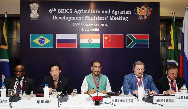 The Union Minister for Agriculture and Farmers Welfare, Mr. Radha Mohan Singh at the inauguration of the 6th BRICS Agriculture and Agrarian Development Ministers' Meeting, in New Delhi on September 23, 2016.