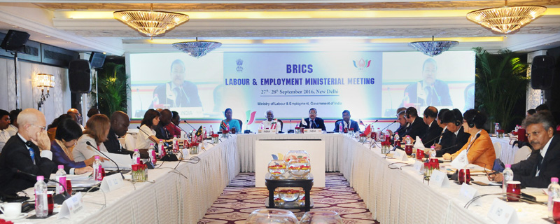 The Minister of State for Labour and Employment (Independent Charge), Mr. Bandaru Dattatreya chairing the BRICS Labour and Employment Ministerial Meeting, in New Delhi on September 27, 2016. The Secretary, Ministry of Labour and Employment, Mr. Shankar Aggarwal is also seen.