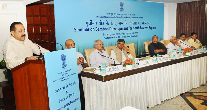 The Minister of State for Development of North Eastern Region (I/C), Prime Minister?s Office, Personnel, Public Grievances & Pensions, Atomic Energy and Space, Dr. Jitendra Singh at the inauguration of the Seminar on Bamboo Development for North Eastern Region, in New Delhi on September 27, 2016.