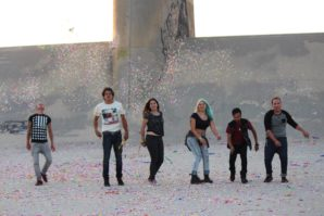 Mariana Wahrhaftig (centre) with the band RVLS at the end of the shoot at the Sepulveda Dam.
