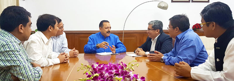 "The Minister of State for Development of North Eastern Region (I/C), Prime Minister's Office, Personnel, Public Grievances & Pensions, Atomic Energy and Space, Dr. Jitendra Singh listening to the grievances of a delegation of ""Chakma"" migrants, in New Delhi on October 11, 2016."