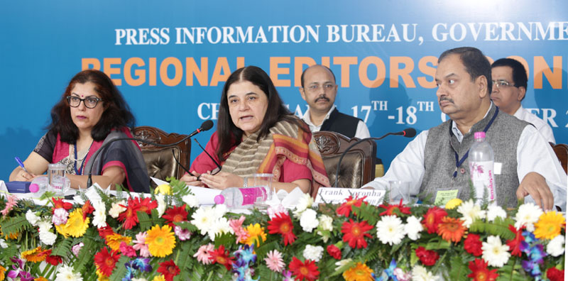 The Union Minister for Women and Child Development, Mrs. Maneka Sanjay Gandhi addressing the media persons during Regional Editors' Conference, in Chandigarh on October 17, 2016.The Director General (M&C), Press Information Bureau, Mr. A.P. Frank Noronha is also seen.
