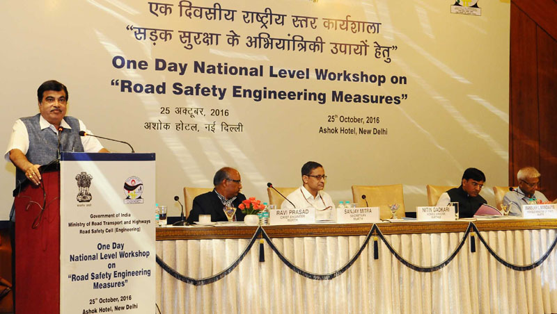 The Union Minister for Road Transport & Highways and Shipping, Mr. Nitin Gadkari addressing at the inauguration of a workshop on 'Road Safety Engineering Measures', in New Delhi on October 25, 2016. The Minister of State for Road Transport & Highways, Shipping and Chemicals & Fertilizers, Mr. Mansukh L. Mandaviya, the Secretary, Ministry of Road Transport and Highways, Mr. Sanjay Mitra and other dignitaries are also seen.