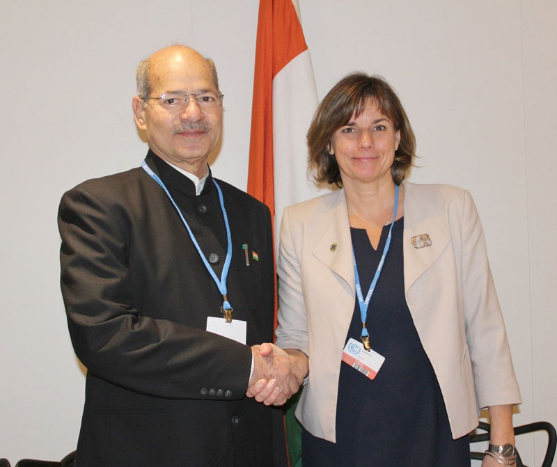 The Minister of State for Environment, Forest and Climate Change (Independent Charge), Mr. Anil Madhav Dave and the Swedish Minister for International Development Cooperation & Climate and Deputy Prime Minister, Ms. Isabella Lovin at a bilateral meeting at COP 22, in Marrakech, Morocco on November 17, 2016.
