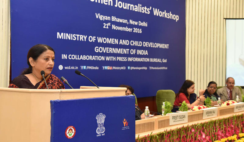 The Union Minister for Women and Child Development, Mrs. Maneka Sanjay Gandhi at the inauguration of the All India Women Journalists' Workshop, in New Delhi on November 21, 2016. The Minister of State for Women and Child Development, Mrs. Krishna Raj and the Secretary, Ministry of Women and Child Development, Ms. Leena Nair are also seen.