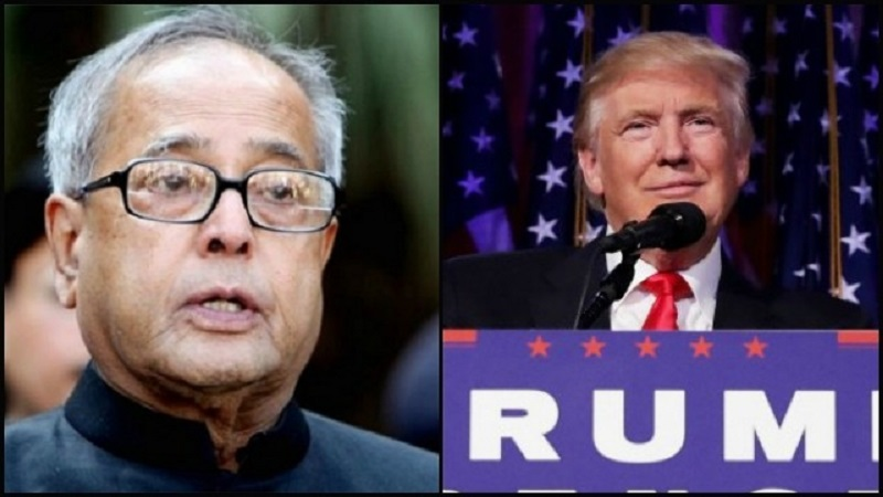 Mr. Donald Trump and Mr. Pranab Mukherjee. (Picture Source: DNA)