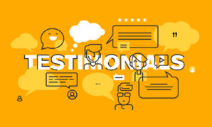 Thin line flat design banner for testimonials web page
