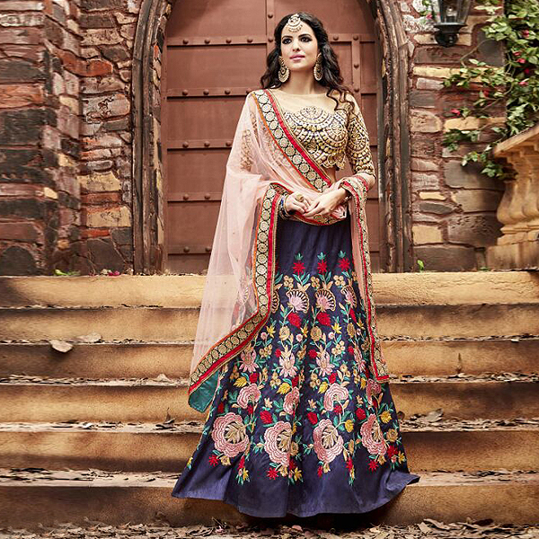 Blue And Baby Pink Designer Lehenga - like a diva