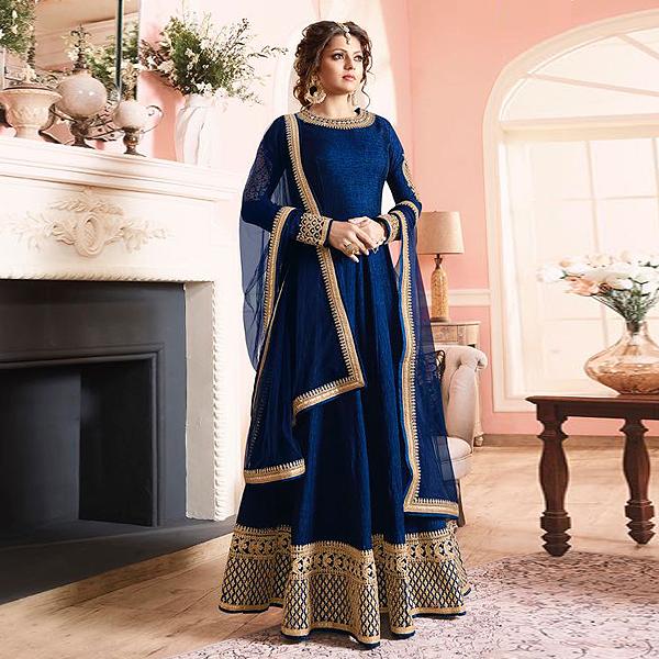 Ink Blue Silk Anarkali Suit by like a diva