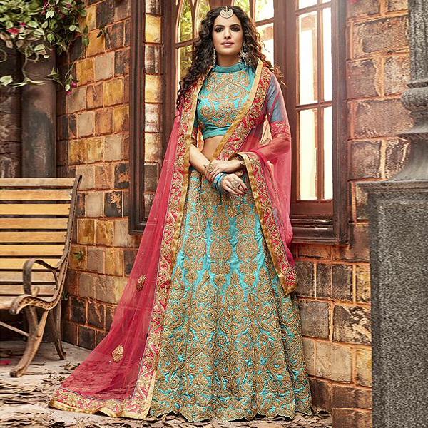 Pink And Turquoise Designer Lehenga by like a diva