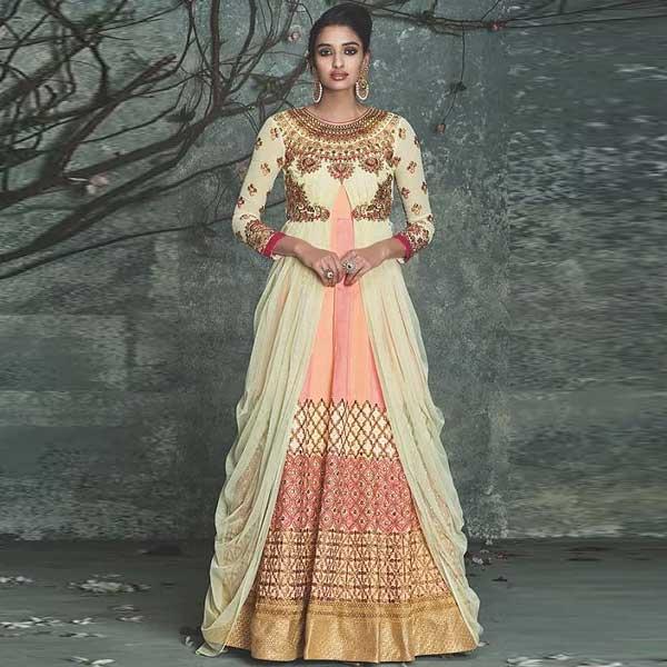 White And Peach Embellished Indo Western Dress - likeadiva