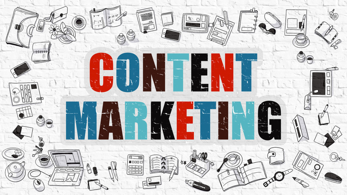 Content Marketing Concept with Doodle Design Icons.