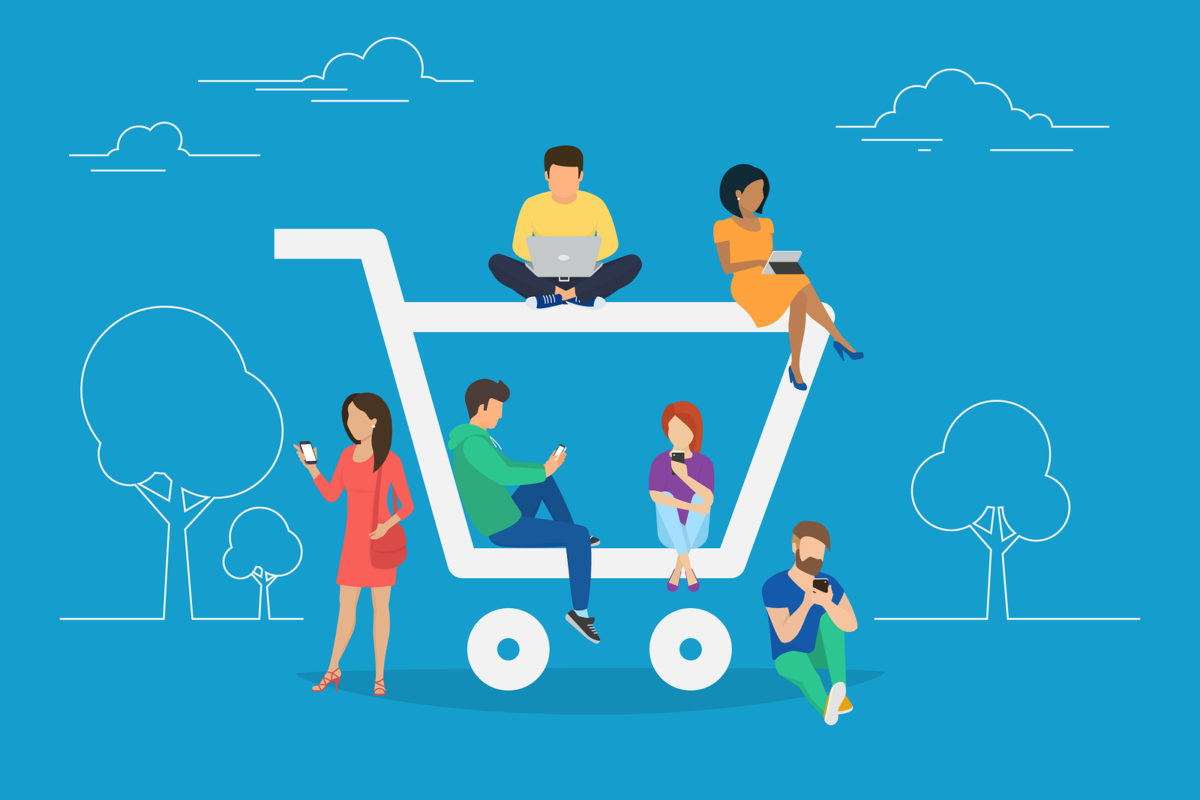 shopping cart graphic with shoppers on moblile devices
