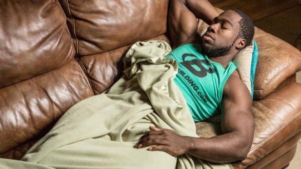 bodybuilder sleeping