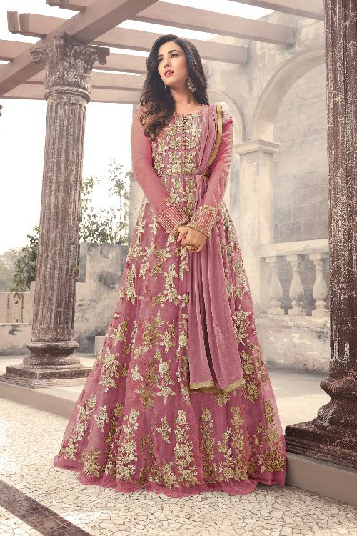 This Designer Floor Length Anarkali Dress In Mauve Colour Is Just Perfect For Your Engagement Ceremony Suit Features Rich Fl Embroidery